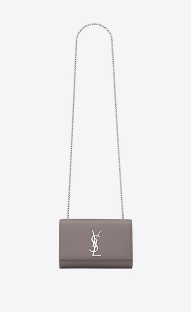 SAINT LAURENT MONOGRAM KATE Donna bag classic small kate con catena color grigio scuro in pelle a texture a_V4