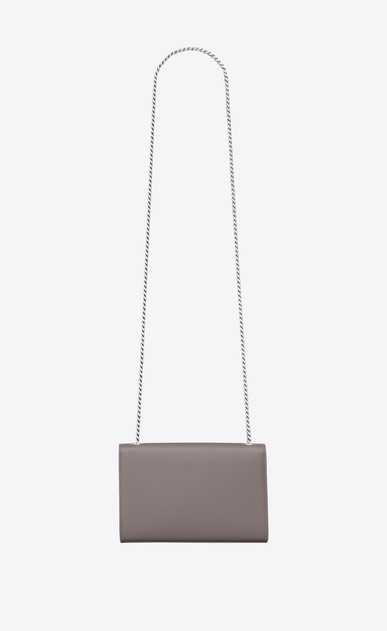 SAINT LAURENT MONOGRAM KATE Donna bag classic small kate con catena color grigio scuro in pelle a texture b_V4
