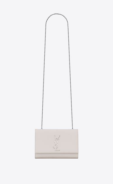 SAINT LAURENT MONOGRAM KATE Donna bag classic small kate con catena in pelle a texture color crema a_V4
