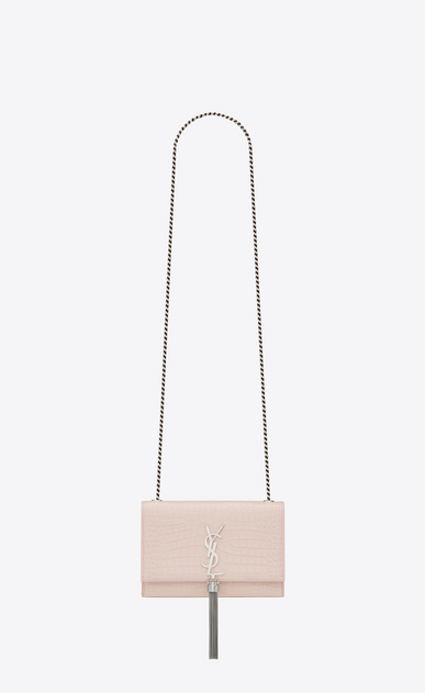 SAINT LAURENT MONOGRAM KATE WITH TASSEL Woman KATE chain and tassel bag in shiny faded pink crocodile-embossed leather V4
