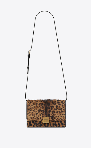 SAINT LAURENT Bellechasse Woman medium bellechasse saint laurent satchel in calfskin with brown and black leopard print a_V4