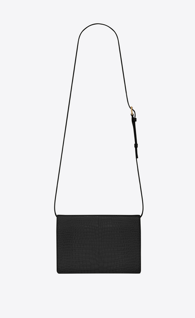 SAINT LAURENT Bellechasse Woman Medium BELLECHASSE SAINT LAURENT satchel in shiny black crocodile-embossed leather b_V4