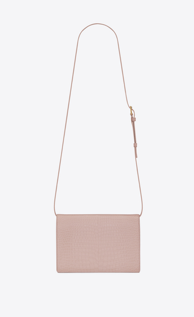 SAINT LAURENT Bellechasse Woman Medium BELLECHASSE SAINT LAURENT satchel in shiny faded pink crocodile-embossed leather b_V4