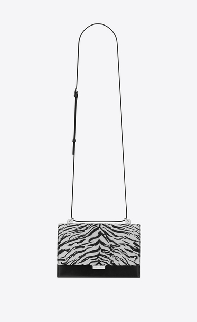 SAINT LAURENT Babylone Woman Small BABYLONE satchel in calfskin with black and white zebra print a_V4