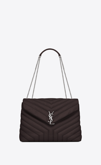 "SAINT LAURENT Monogramme Loulou Woman medium loulou bag in black tulip ""y"" matelassé leather a_V4"