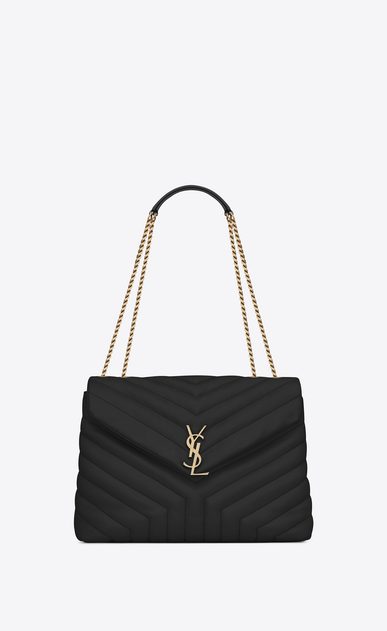 "SAINT LAURENT Monogramme Loulou Woman medium loulou chain bag in black ""y""-quilted leather a_V4"