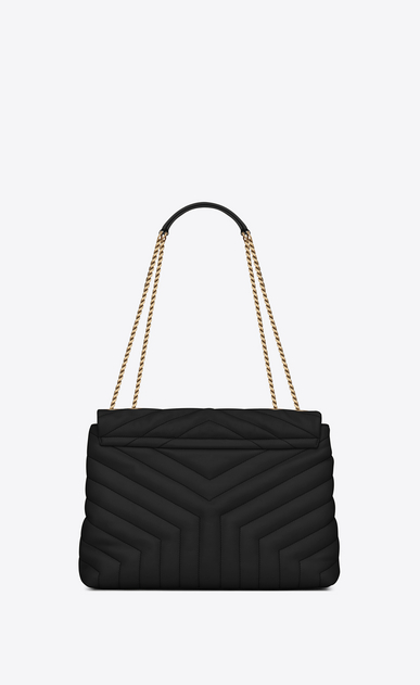 "SAINT LAURENT Monogramme Loulou Woman medium loulou chain bag in black ""y""-quilted leather b_V4"