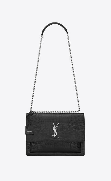 SAINT LAURENT Sunset Femme Sac Large SUNSET en cuir noir brillant embossé façon crocodile a_V4