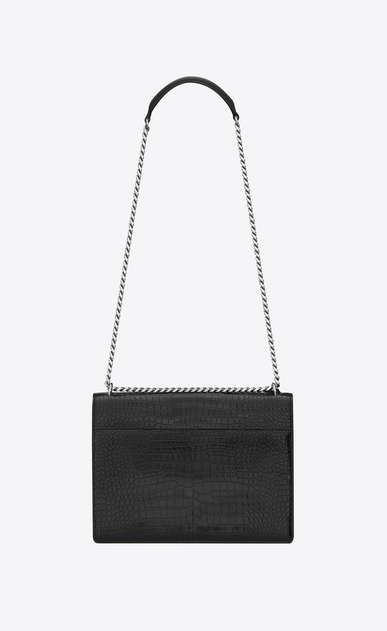 SAINT LAURENT Sunset Femme Sac Large SUNSET en cuir noir brillant embossé façon crocodile b_V4