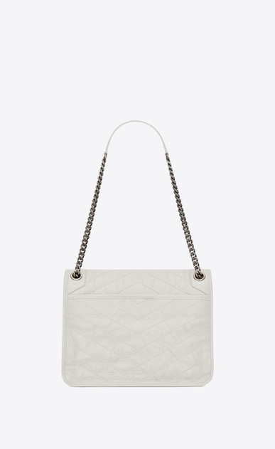 SAINT LAURENT Niki bags Woman medium niki chain bag in crinkled and quilted pearl white leather b_V4
