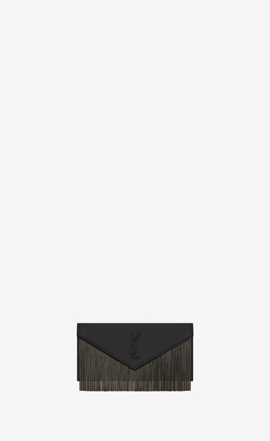 SAINT LAURENT Clutches Woman LE SEPT fringed pouch in black leather a_V4