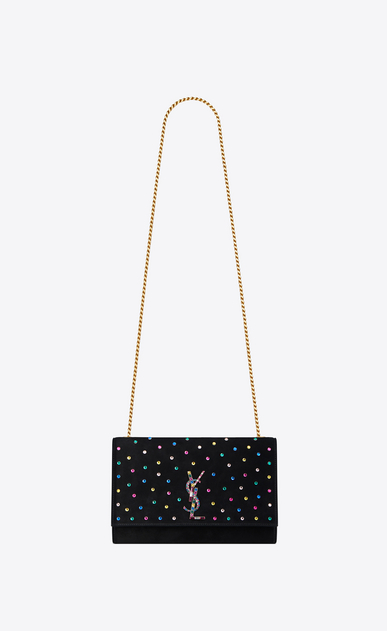 SAINT LAURENT MONOGRAM KATE Woman Medium KATE chain bag in black suede and multicolored crystals a_V4