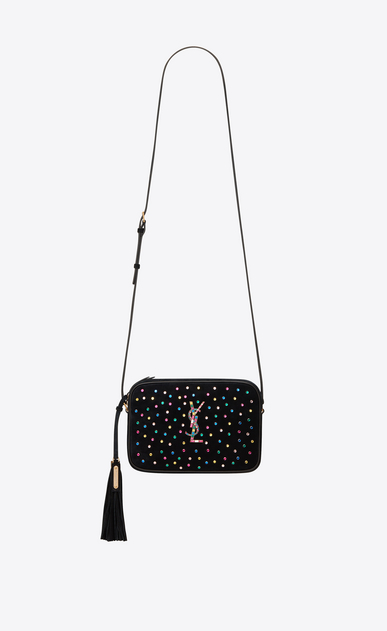 SAINT LAURENT Monogram Lou Woman lou camera bag in black suede and multicolored crystals a_V4