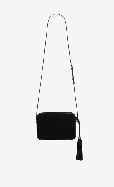 SAINT LAURENT Monogram Lou Woman lou camera bag in black suede and multicolored crystals b_V4