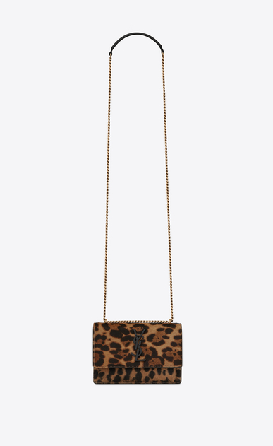 SAINT LAURENT Mini bags sunset Donna Clutch SUNSET con catena in pelle di vitello nera e color cammello a stampa leopard a_V4