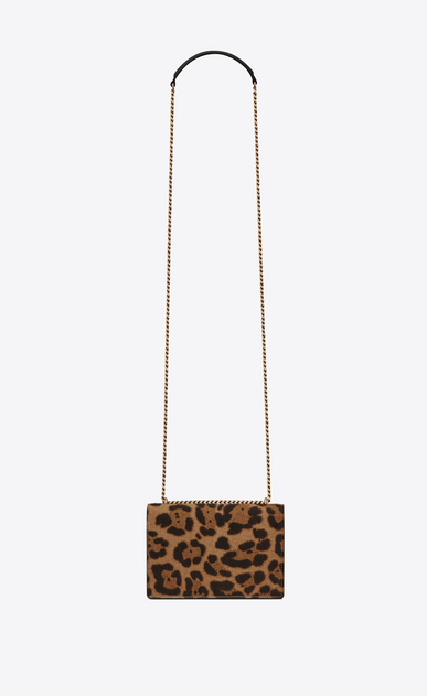 SAINT LAURENT Mini bags sunset Donna Clutch SUNSET con catena in pelle di vitello nera e color cammello a stampa leopard b_V4