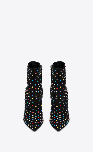 SAINT LAURENT Betty Shoes Femme Bottine BETTY 95 en suède noir et cristaux multicolores b_V4