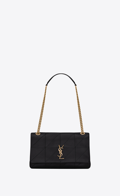 SAINT LAURENT Jamie Woman Medium JAMIE bag in black patchwork leather a_V4