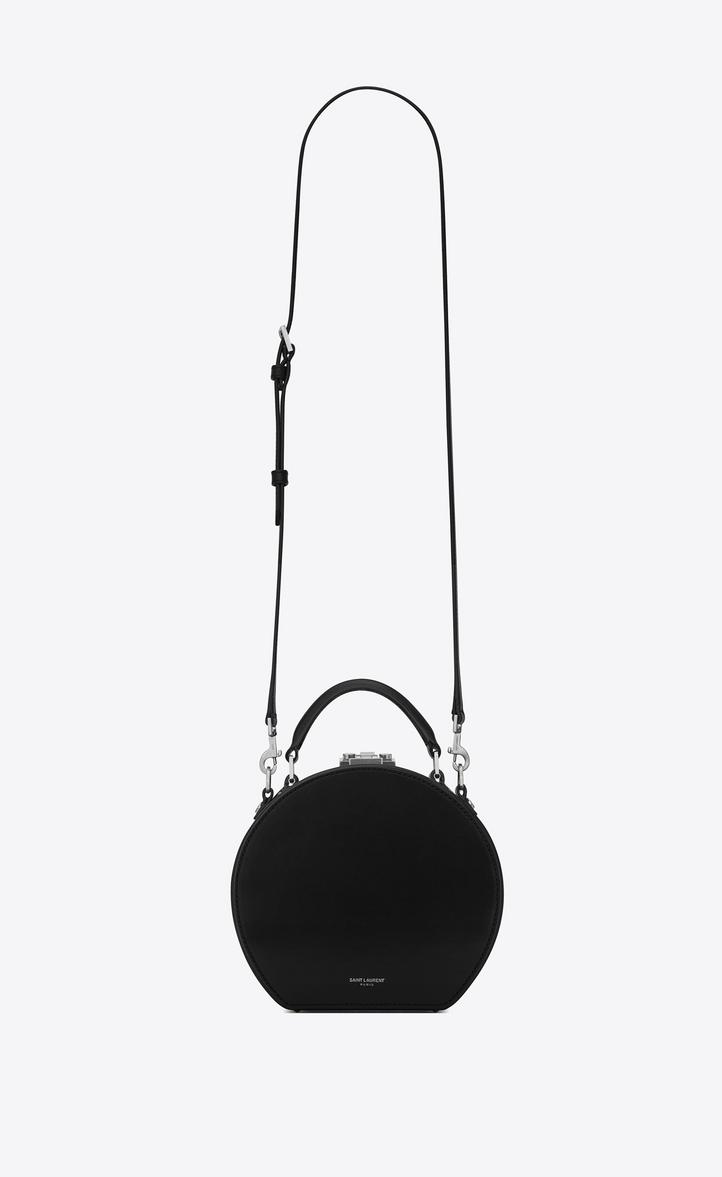 SAINT LAURENT Mica Leather Top-Handle Hat Box Bag W/ Crossbody Strap, Black