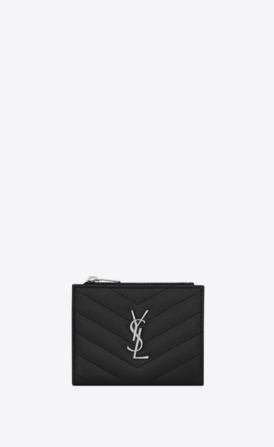 SAINT LAURENT Monogram Matelassé Woman zippered card case in black textured and quilted leather a_V4