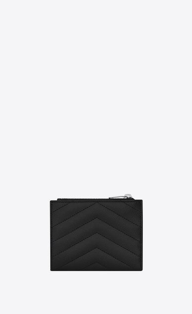 SAINT LAURENT Monogram Matelassé Woman zippered card case in black textured and quilted leather b_V4
