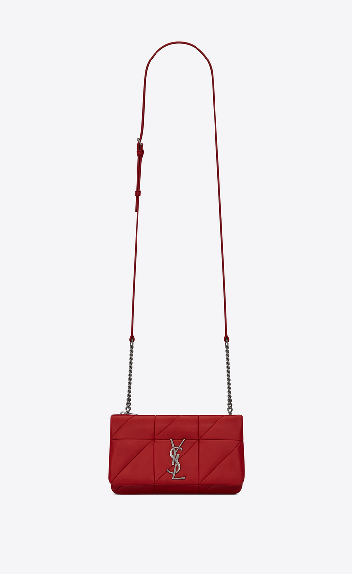 Saint Laurent Patchwork Leather Monogramme Jamie Chain Wallet In Red