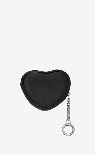 SAINT LAURENT Monogram Matelassé Woman Key holder case with hearts in black leather b_V4