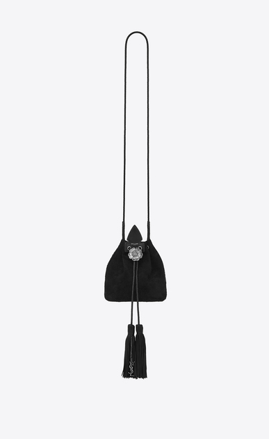 SAINT LAURENT Bucket Bag Woman Small ANJA bucket bag in black suede a_V4