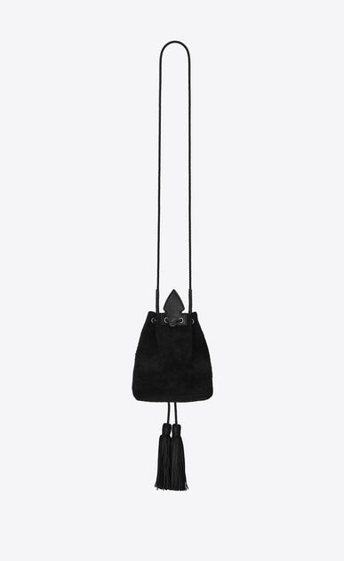 SAINT LAURENT Bucket Bag Woman Small ANJA bucket bag in black suede b_V4