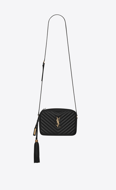 SAINT LAURENT Camera bag Woman lou camera bag in quilted black leather a_V4