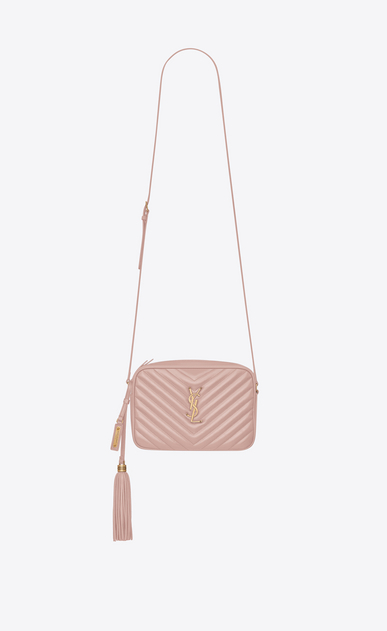 SAINT LAURENT Camera bag Woman lou camera bag in quilted faded pink leather a_V4