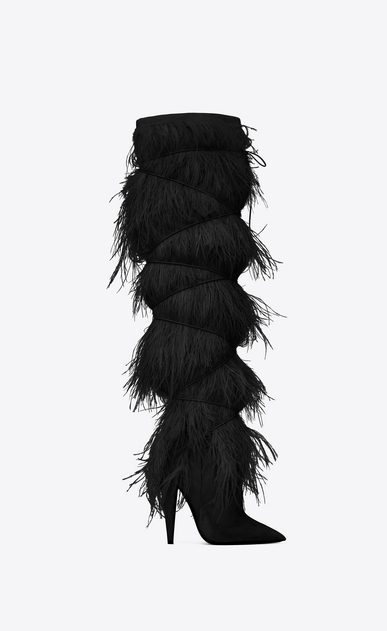 SAINT LAURENT Yeti Woman YETI 110 boots with ostrich feathers in black velvet a_V4