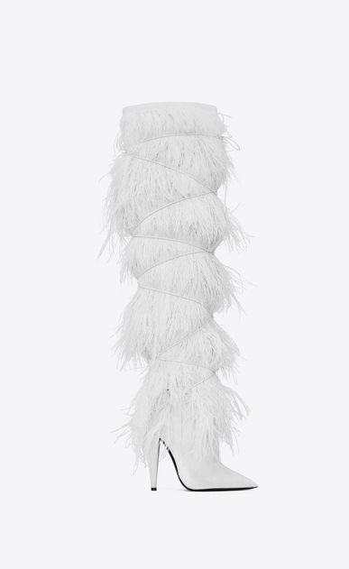 YETI 110 boots with ostrich feathers in white velvet