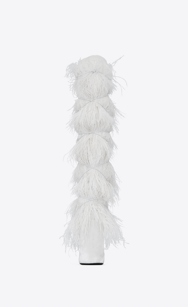 SAINT LAURENT Yeti Woman YETI 110 boots with ostrich feathers in white velvet b_V4