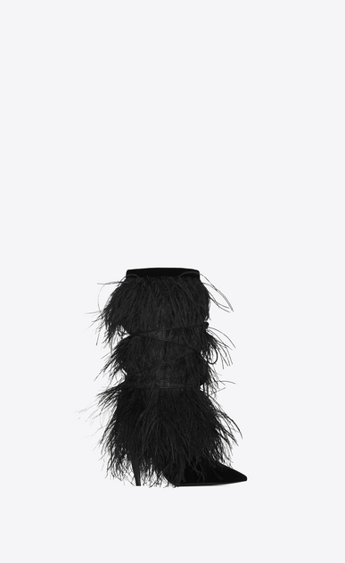 YETI 110 ankle boots with ostrich feathers in black velvet