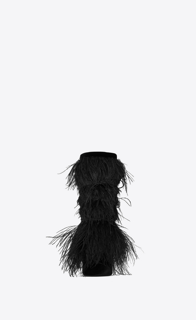 SAINT LAURENT Yeti Woman YETI 110 ankle boots with ostrich feathers in black velvet b_V4