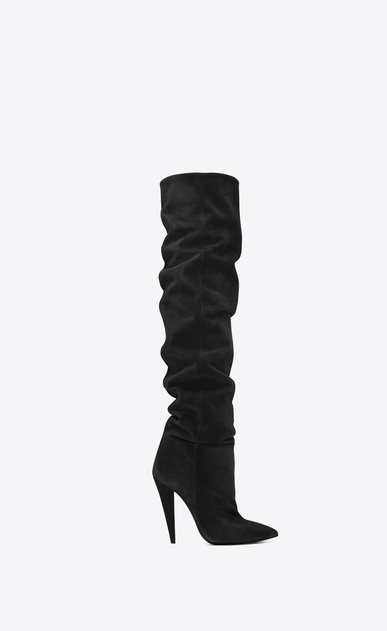 SAINT LAURENT Era Woman ERA 110 boots in black suede a_V4