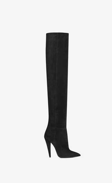 SAINT LAURENT Era Woman ERA 110 boots in black suede b_V4