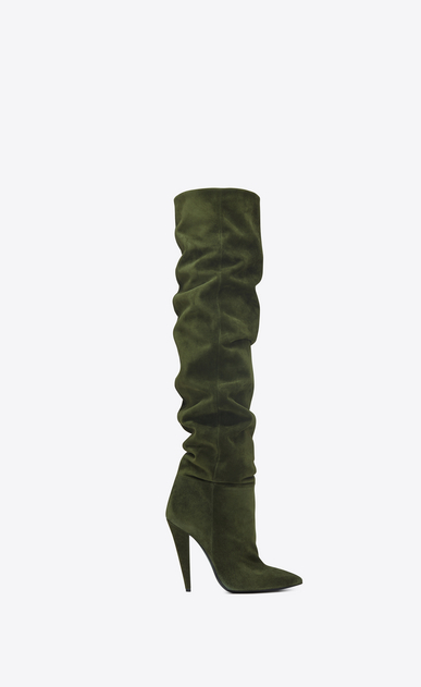 SAINT LAURENT Era Damen ERA 110 Stiefel aus Veloursleder in Army-Grün a_V4