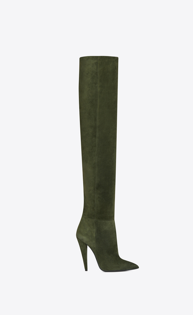 SAINT LAURENT Era Woman ERA 110 boots in military green suede b_V4