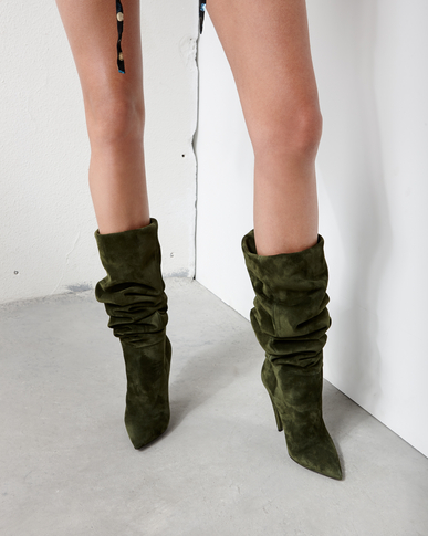 SAINT LAURENT Era Damen ERA 110 Stiefel aus Veloursleder in Army-Grün y_V4