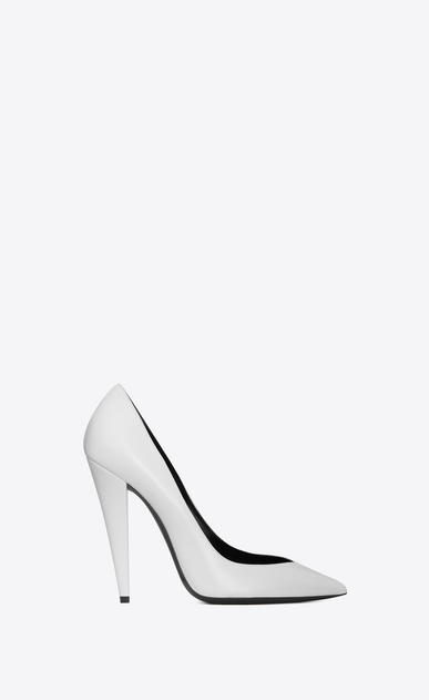 SAINT LAURENT Era Femme Escarpin ERA 110 en cuir blanc a_V4