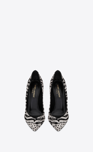 SAINT LAURENT Era Woman ERA 110 pumps in striped and spotted black and white calfskin b_V4