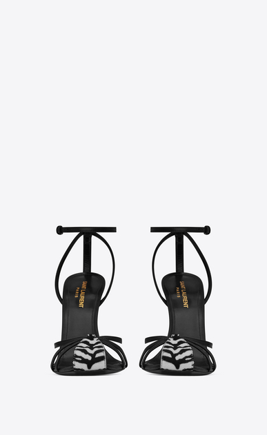 SAINT LAURENT Era Woman ERA 110 cage sandals in calfskin with black leather tiger print b_V4