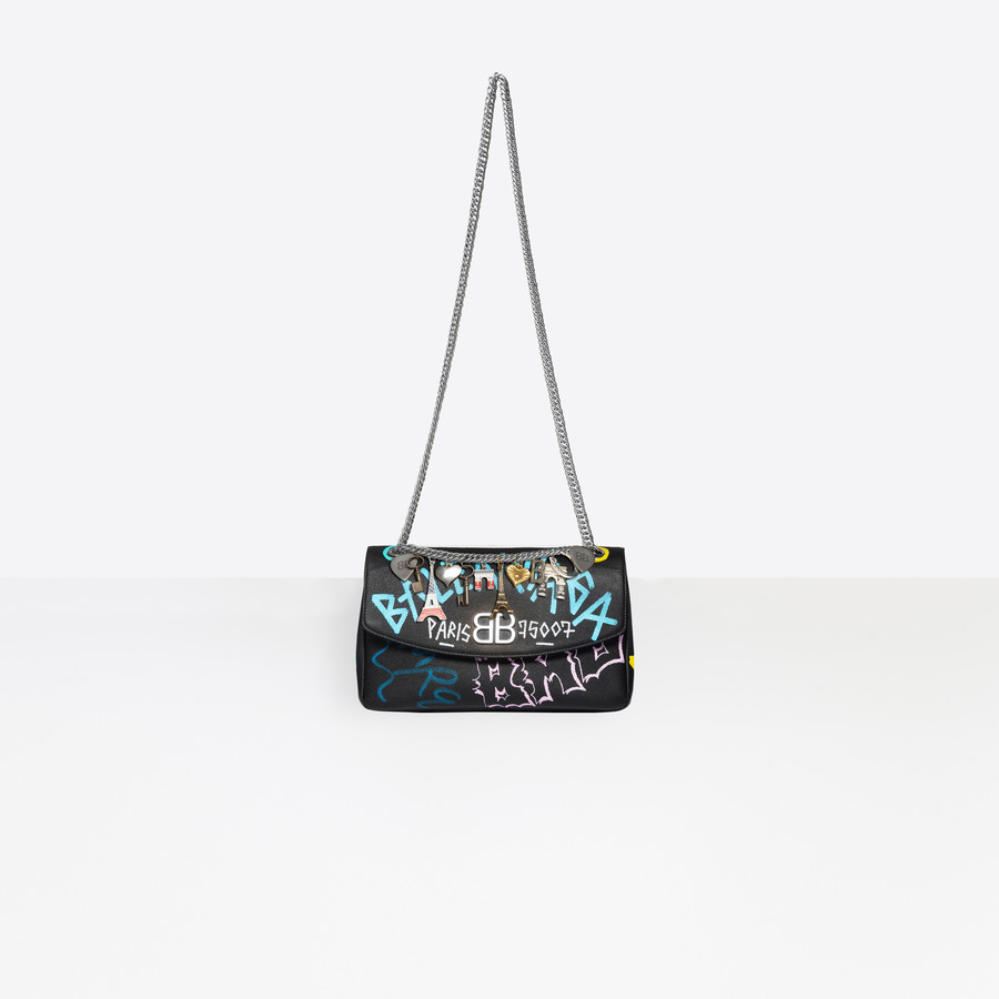 BALENCIAGA BB Round M Graffiti BB Handbags Woman a