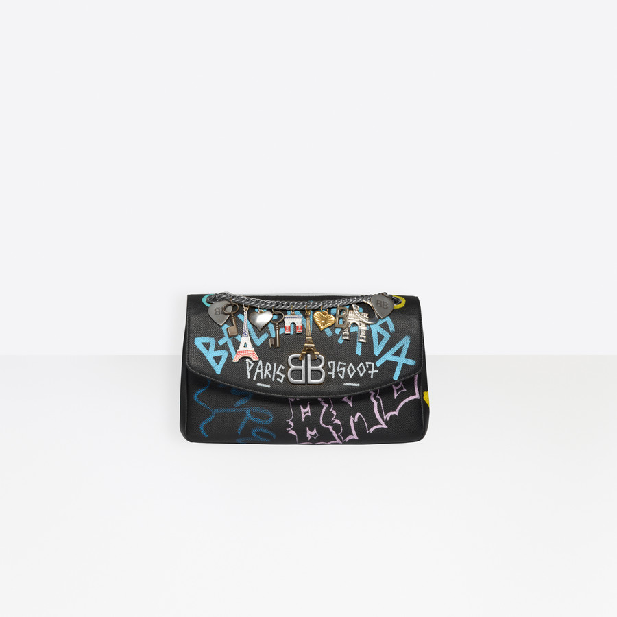 BALENCIAGA BB Round M Graffiti BB Handbags Woman f