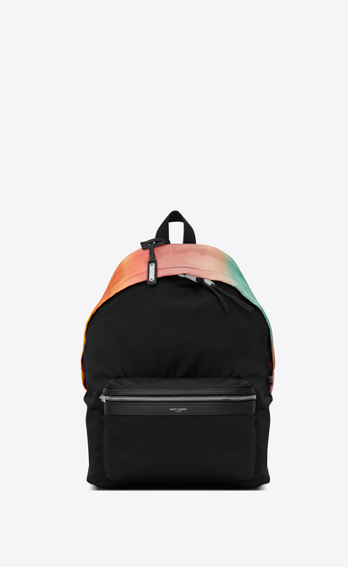 CITY backpack in black canvas and multicolored satin