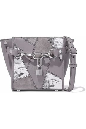 ALEXANDER WANG Chain-embellished patchwork leather and suede shoulder bag