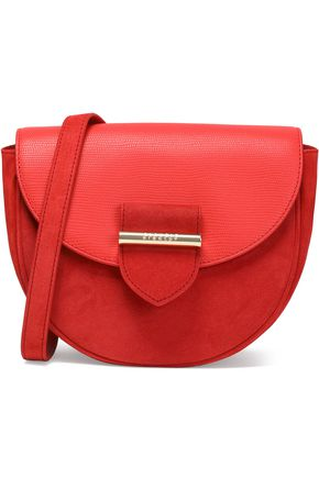 CLAUDIE PIERLOT Leather-paneled suede shoulder bag