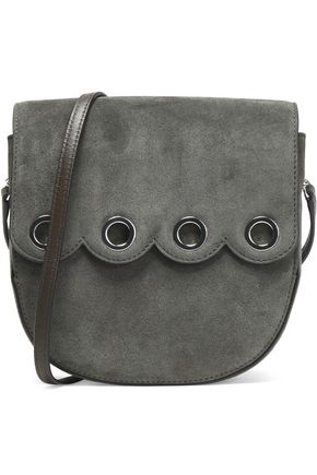 CLAUDIE PIERLOT Eyelet-embellished scalloped suede shoulder bag